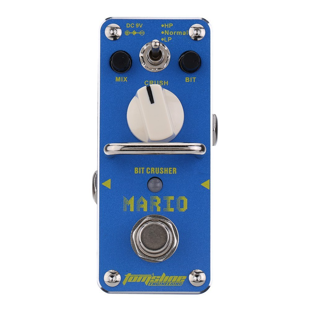 AROMA AMO-3 Mario Bit Crusher Electric Guitar Effect Pedal Mini Single Effect with True Bypass mooer ensemble queen bass chorus effect pedal mini guitar effects true bypass with free connector and footswitch topper