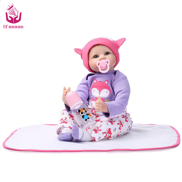 Hot!UCanaan22 inch 50-55cm Cute Soft Silicone Baby Reborn Doll Toys For Girls The Best  Birthday Gift or Christmas Gift