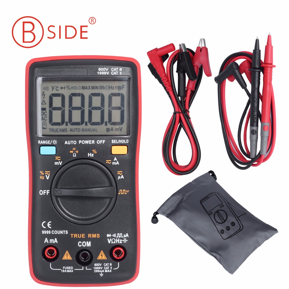 BSIDE ZT109 Professional And Practical Ture RMS Digital Multimeter 9999 Counts Backlight AC/DC Ammeter Voltmeter Ohm Meter RM109 digital multimeter 6000 counts backlight ac dc meter ammeter voltmeter xj16 y103