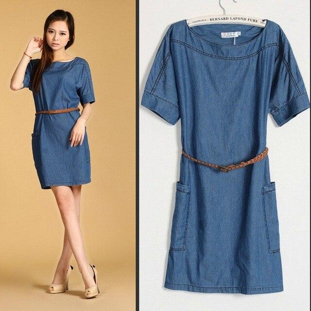 02e8b915c84 Плюс Размеры новые женские Модные джинсовые платья