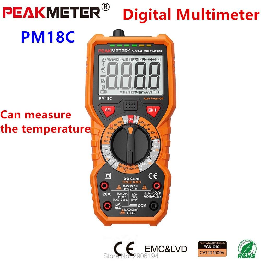 PEAKMETER PM18C multimètre numérique mesure tension résistance au courant capacité fréquence température NCV testeur de ligne en direct