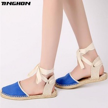 TINGHON Fashion Women Ladies Espadrille Shoes Canvas Blue Rome Ankle Strap Hemps Flats
