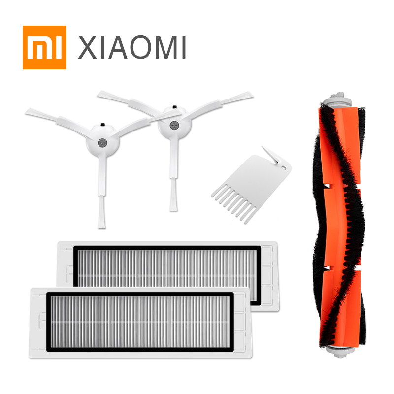 New Original packaging Part Pack for Xiaomi Robot Vacuum Cleaner Spare Parts Kits Side Brushes x2 HEPA Filter x2 Roller brush x1