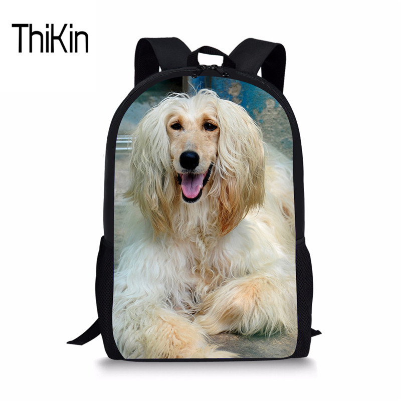 THIKIN Primary School Bag For Girls Boys Afghan Hound Schoolbag Kids Book Shoulder Bags Mochila Bolsa College Daypack Satchel