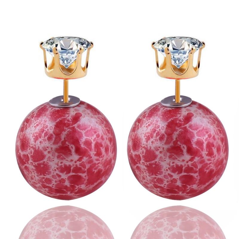 இNueva llegada de impresión doble cara perla Pendientes bohrmian ...