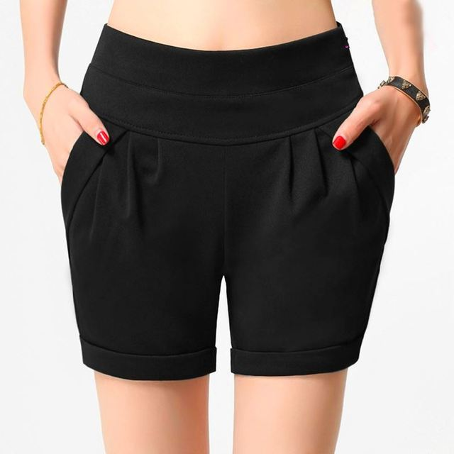 Elastic Waist Shorts Women High Waist Harem Shorts Six Colors Plus Size  Short Femme New 2017 Short Feminino Casual 3XL 4XL 0825b74f7d3d