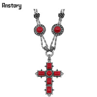 Fashion Jewelry Vintage Look Antique Silver Plated Personality Double Chain Cross Pendant Turquoise Necklace TN309