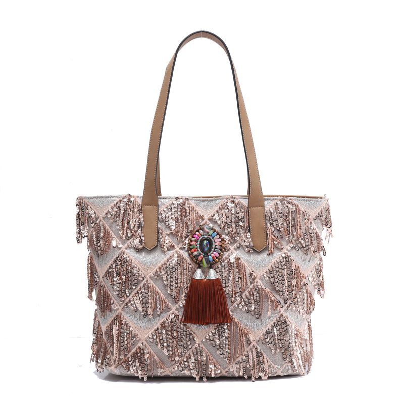 women's handbag bohemian luxurious evening shoulder bag Beading Embroidery Feathers Tassel high class plaid large party handbags tassel tie embroidery high low blouse