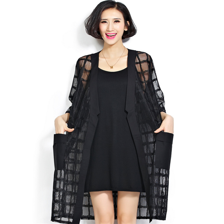 f37d83507fc Summer large size ladies fashion fat loose plus size design cardigan black  see through shirts trench for women-in Trench from Women's Clothing on ...
