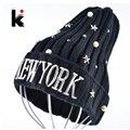 Женская Harajuku Зимние Шапочки cap бисером пятиконечная звезда жемчужина нью-йорк шапки вышивка капот дамы трикотажные головные уборы для женщин