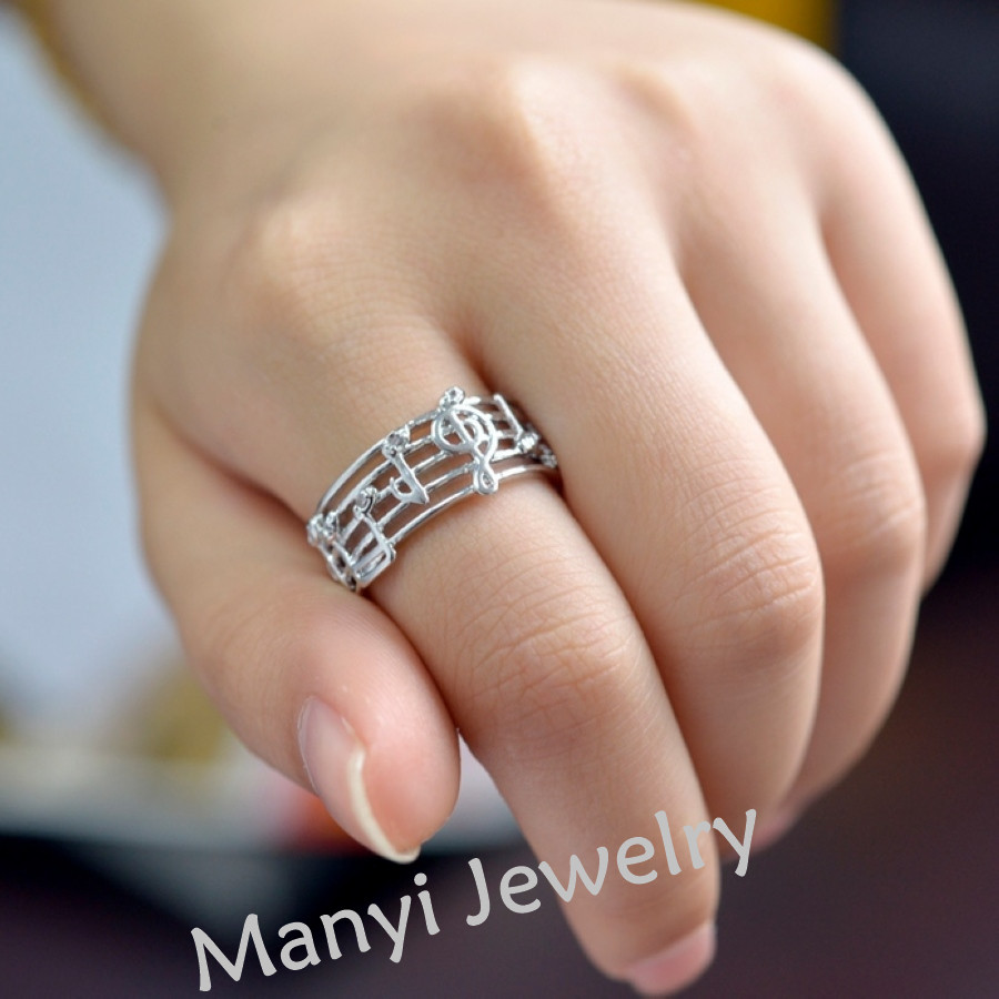 2018 Hollow Music design girls gold silver plated ring zircon ...