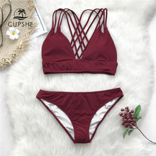 CUPSHE Burgundy Strappy Bikini Sets Women Crisscross Solid Two Pieces Swimsuits 2019 Girl Sexy Swimwear(China)