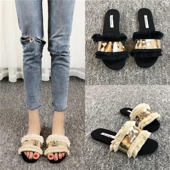 Cozy Shoes Women Slippers Fashion Metal Bling Slides Fur Fringe Flip Flops Summer Flat Slides Outside Ladies Shoes 1