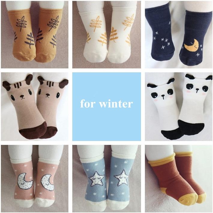 0-4Y Baby Girls Boy Cartoon Socks Anti-Slip Cotton Toddler Kids Warm Ankle Socks