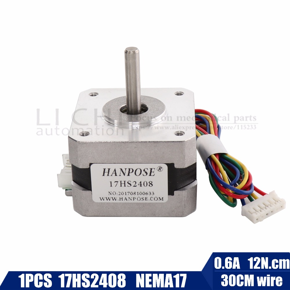 Free shipping CE certification 1 PCS 17HS2408 4-lead Nema 17 Stepper Motor 42 motor 42BYGH 0.6A CECNC Laser and 3D printer motor