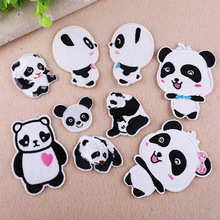 Black White China Animal small Patchwork Patch Embroidered Patches For Clothing Iron On Close Shoes Bags Badges Embroidery