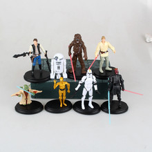 8pcs/lot Cartoon Star Wars Action Figure R2 Jedi Chewbacca Etc Clone Figures Model Toys Collection Anime Toys For Kids