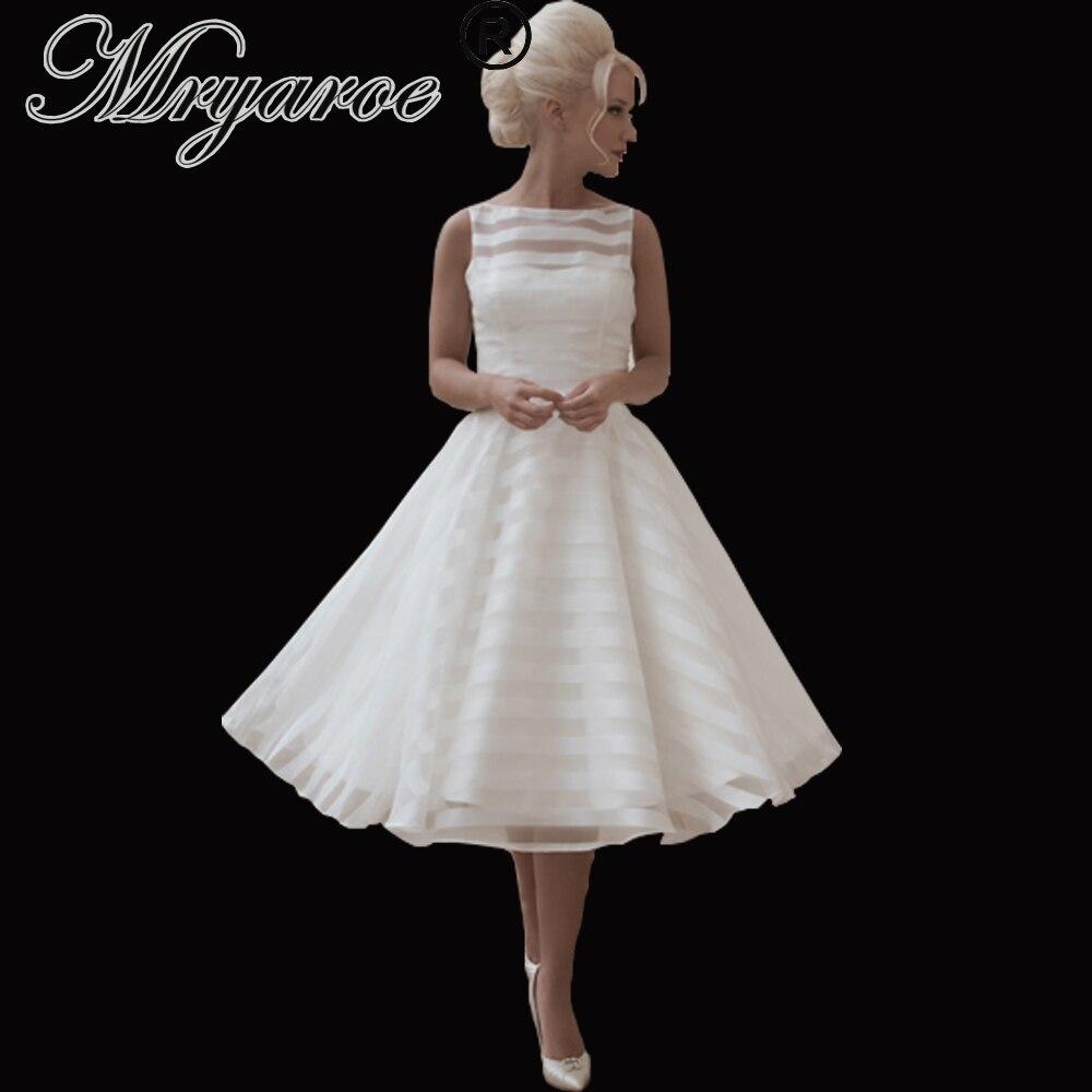 Mryarce Sleeveless Short Wedding Dress Cute Striped Organza Illusion Back Tea Length Bridal Gowns