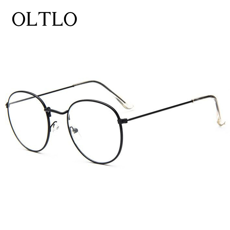 oltlo hot sale vintage metal sun glasses frame women brand designer round optical glasses fashion plain
