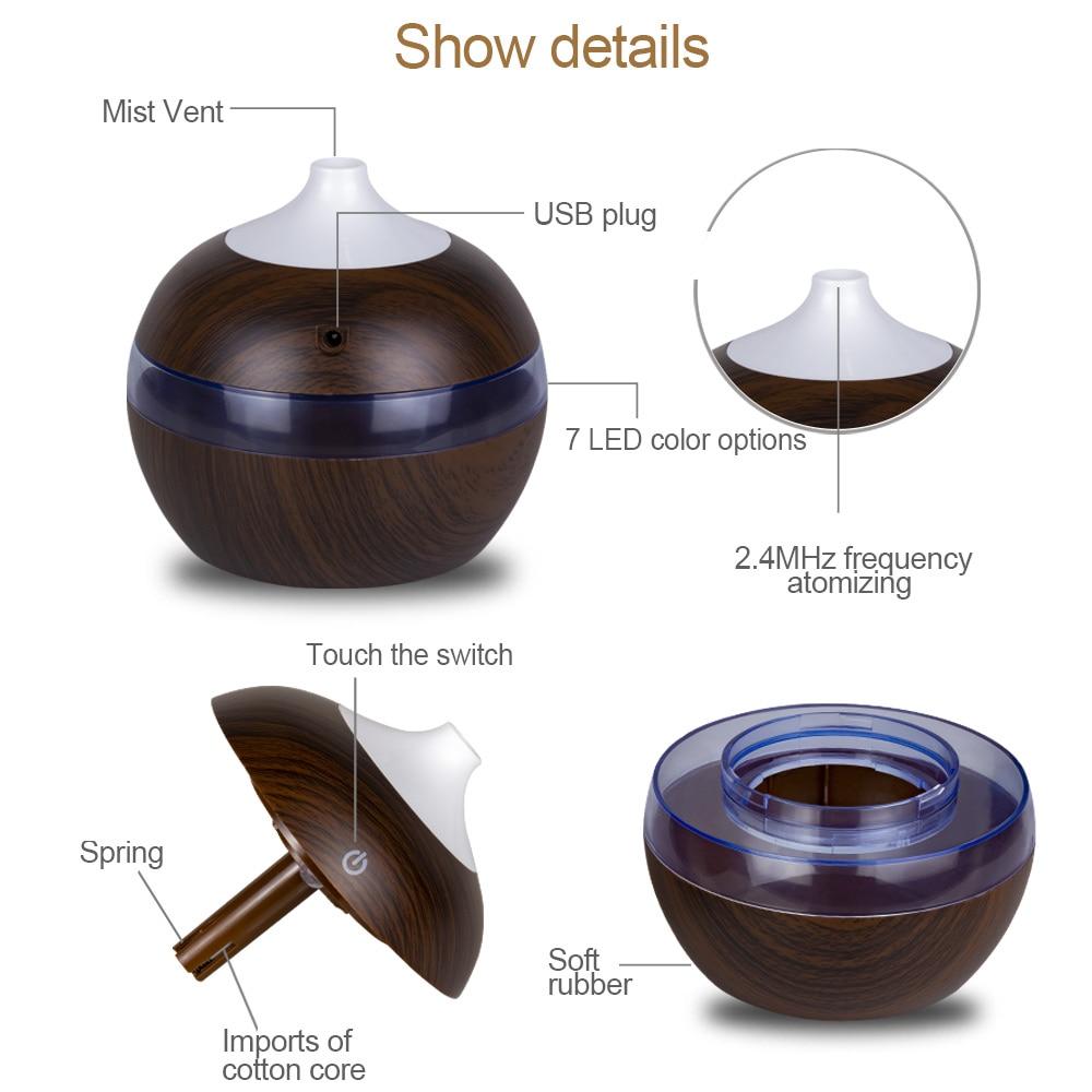 KBAYBO USB 130ml Mini Oil Diffuser  Air Purifier wood Ultrasonic Cool Mist fogger Humidifier LED light for Office Home car