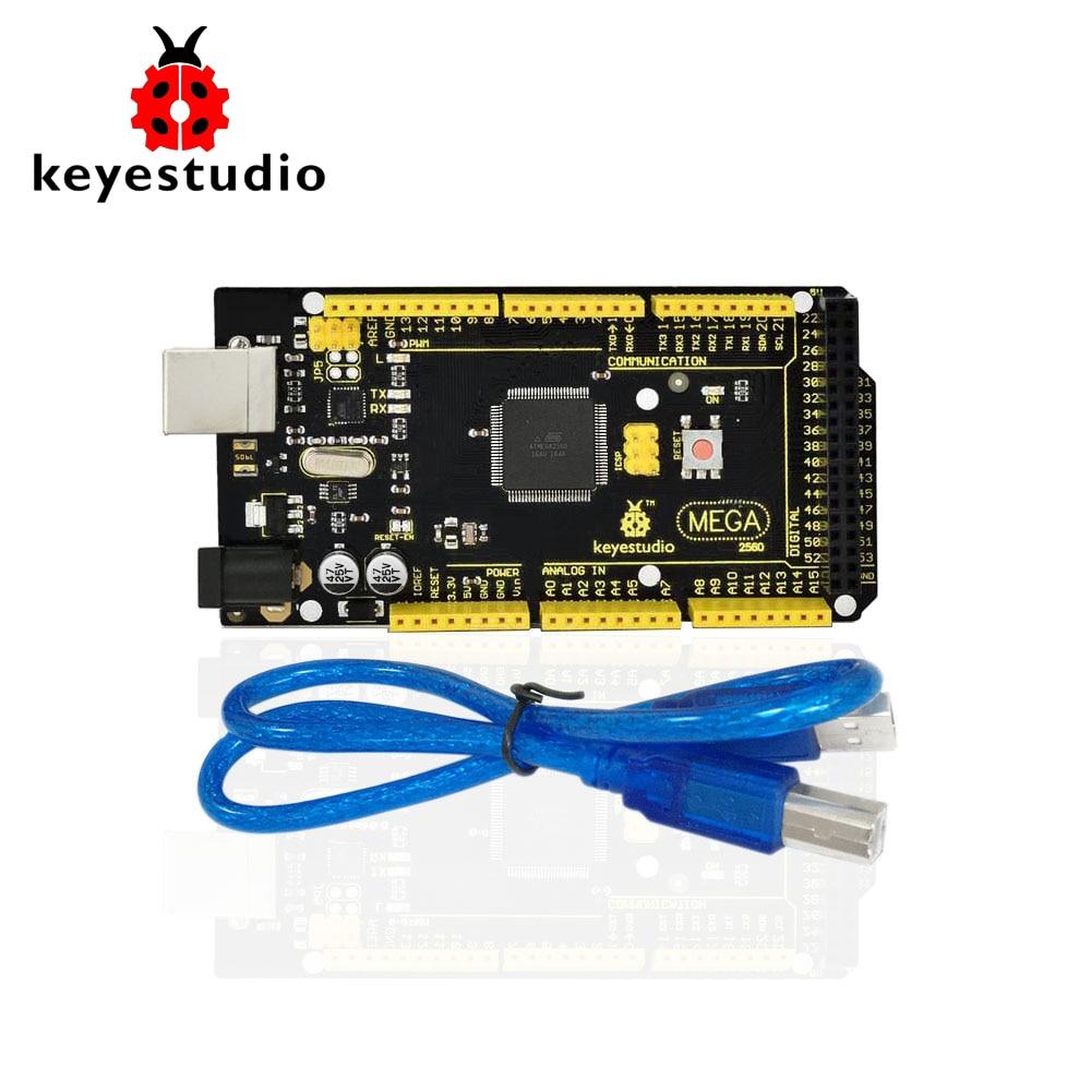 1Pcs Keyestudio MEGA 2560 R3 Development Board+ 1Pcs USB cable+Manual For Arduino Microcontroller