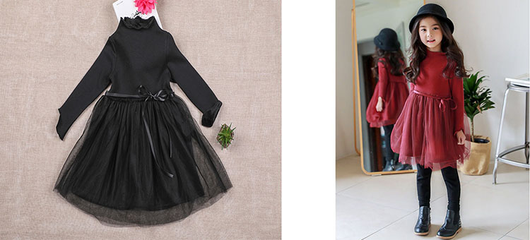 e2feed6a6 Christmas thick teenage little girls winter dress long sleeve 2017 new kids  clothes mesh black red ...