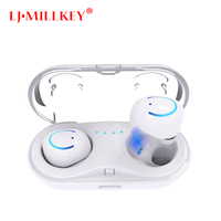 2018 New Dual TWS Wireless Bluetooth Headset HiFi Bass Earphone With Charging Box Earphones For Smartphone