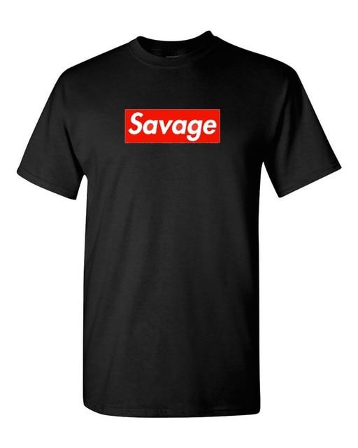 01859124b3d1 2018 New Men S Supreme Savage Box Logo Remington Logo Print T Shirt Men  100% Cotton T-shirt