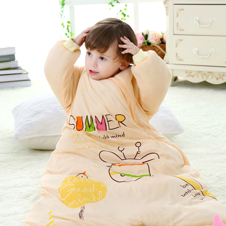 High Quality Baby Sleeping Bag Autumn Winter Cotton Baby Sleeping Bag Warm Swaddle Wrap Detachable Sleeve Baby Sleep Sack цена