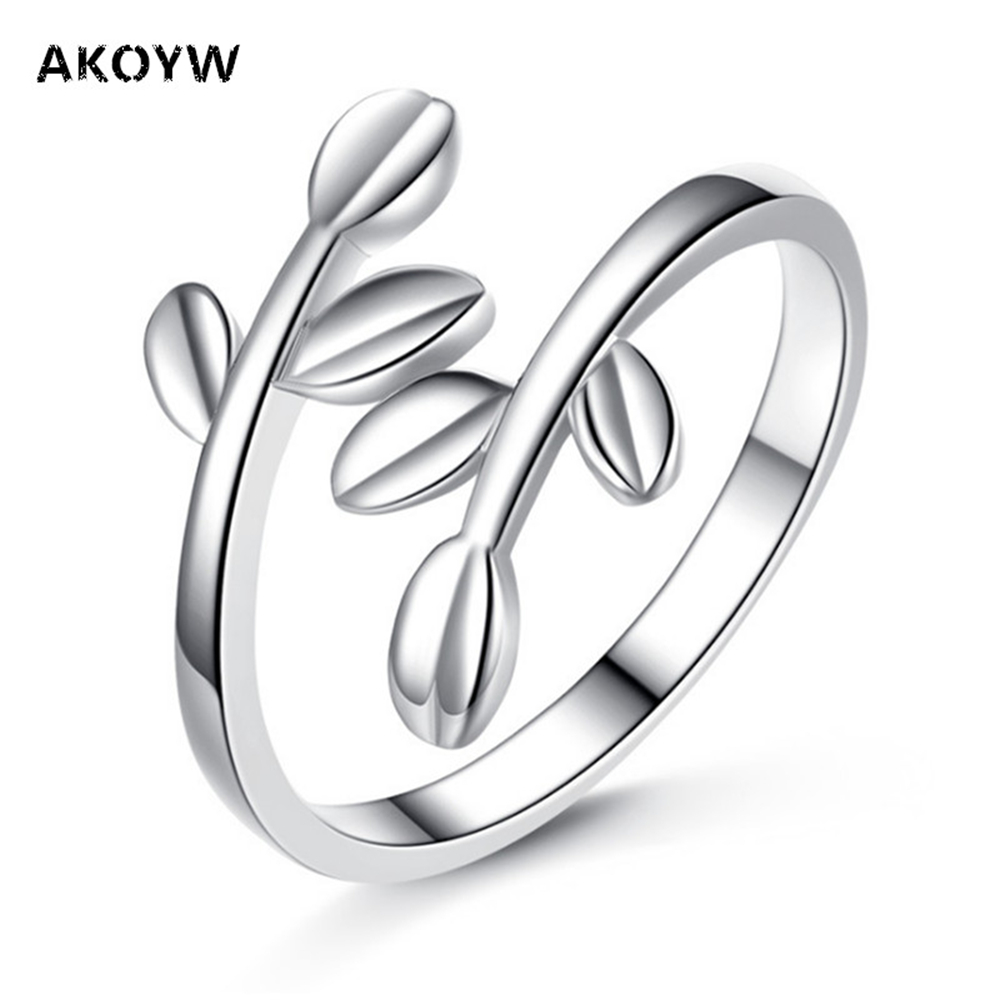 Akoyw Female Fashion Jewelry Silver Rings Couple Models Olive Branch  Symbolizes Peace Leaf Ring Adjustable Size