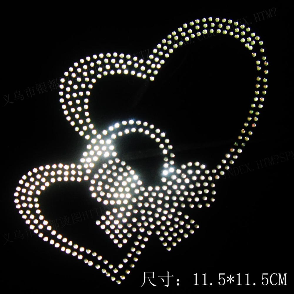 double heart hotfix rhiestones motif heat transfers design for clothes  ddy65464 13ceeaf5c89a