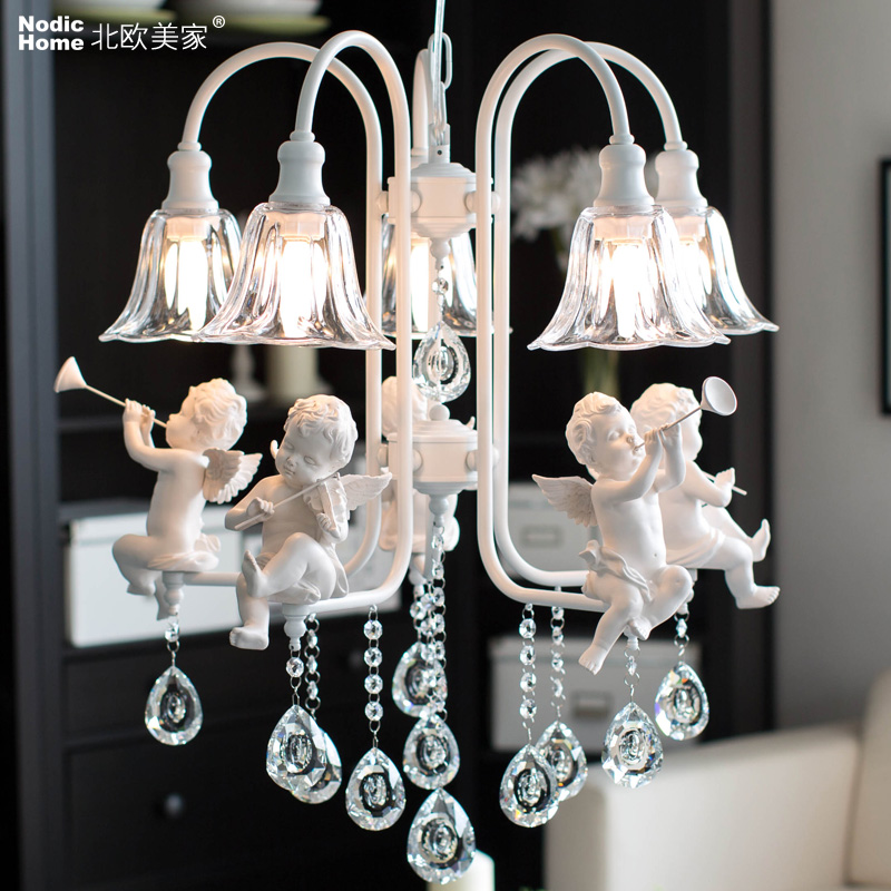 Modern crystal Chandeliers with the angel for living room light modern lamps lustre lighting led modern crystal chandelier led hanging lighting european style glass chandeliers light for living dining room restaurant decor