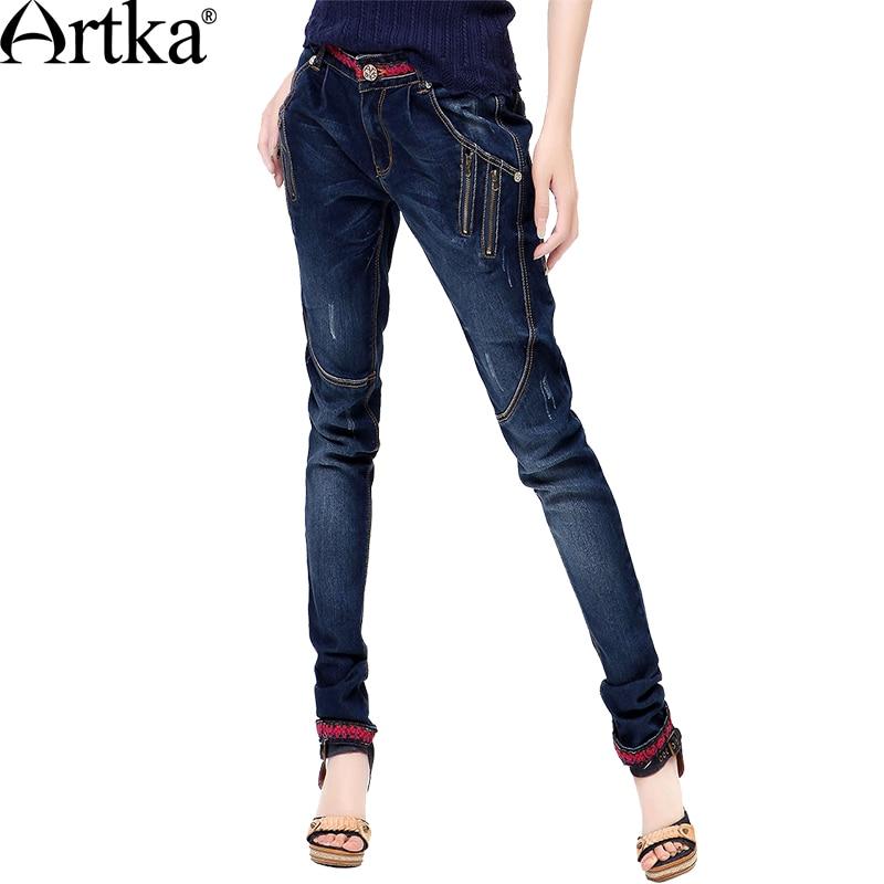 Artka Femmes Jeans Avec Broderie Vintage Pantalon Femmes 2018 Skinny Jeans Denim Crayon Pantalon Plus La Taille Élastique Jeans KN12621D