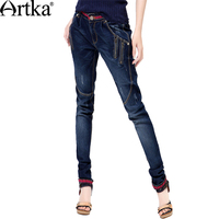 Artka Women Jeans With Embroidery Vintage Trousers Women 2018 Skinny Jeans Denim Pencil Pants Plus Size Elastic Jeans KN12621D