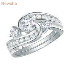 Newshe casamento único anel de noivado nupcial conjunto 1 ct redondo branco cz 925 prata esterlina na moda jóias presente para as mulheres qr104435