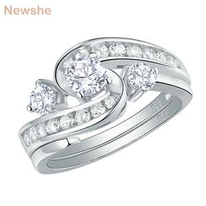 Newshe unikalny ślub pierścionek zaręczynowy zestaw dla nowożeńców 1 Ct okrągły biały CZ 925 Sterling Silver Trendy biżuteria prezent dla kobiet QR104435