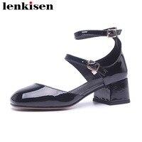 Lenkisen новый квадратный носок Обувь на высоком каблуке однотонная обувь в сдержанном стиле офис леди двойной ремешок с пряжкой high street fashion жен