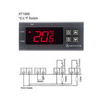 KT1000 12V 24V 220V Digital Temperature Controller 10A C/F Two Relay Incubator Temperature Thermostat With Heater And Cooler