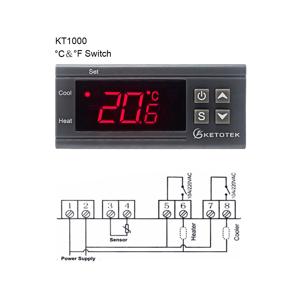 KT1000 Digital Temperature Controller 10A C/F 12V <font><b>24V</b></font> <font><b>220V</b></font> Two <font><b>Relay</b></font> Incubator Temperature Thermostat With Heater And Cooler image
