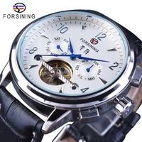 Forsining Men Business Casual Wearing Design Blue Hand 2 Dial Tourbillion Genuine Leather Belt Mens Luxury