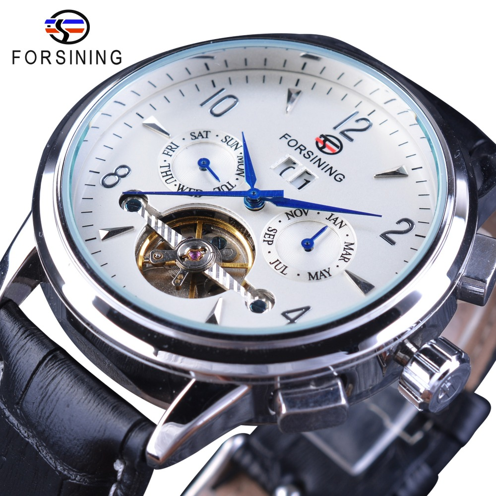 Forsining Men Business Casual Wearing Design Blue Hand 2 Dial Tourbillion Genuine Leather Belt Mens Luxury Automatic Wrist Watch forsining luxury mmechanical men wristwatch genuine leathe band unique design dial cost effective male casual fashion watch