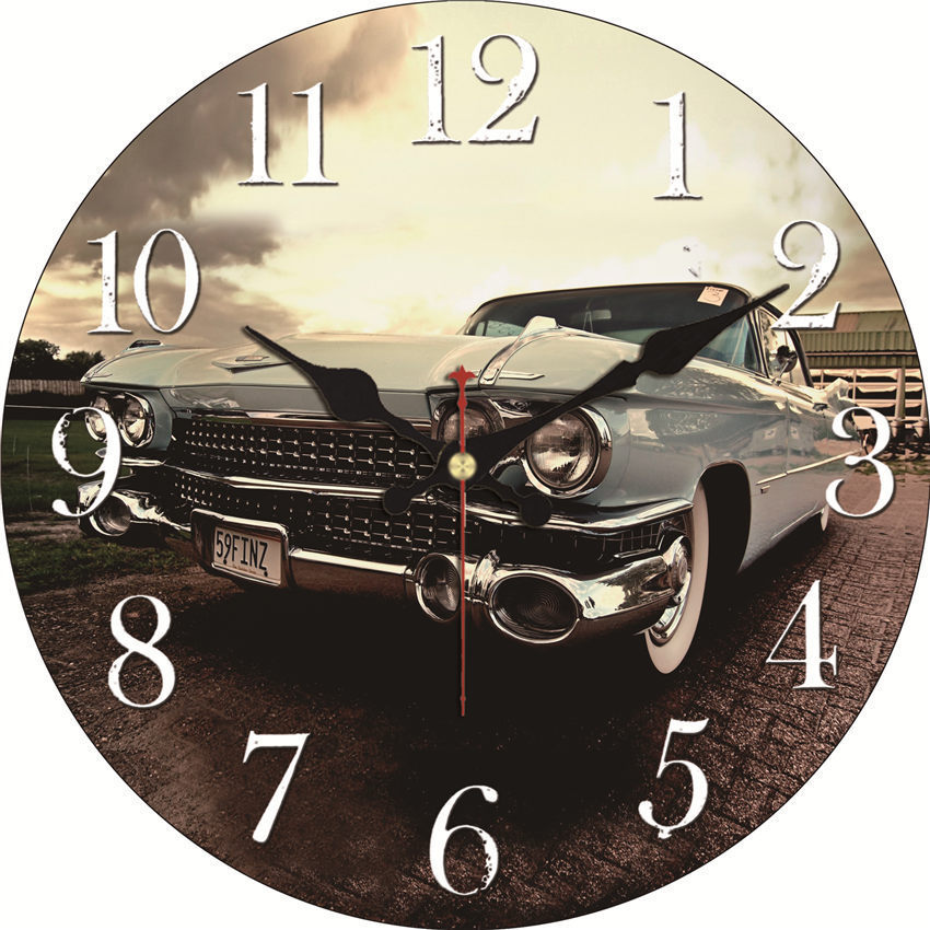 Shabby Chic Car Design Clocks Home Decoration Office Cafe Kitchen Wall Watches Silent Wall Clocks Art Vintage Large Wall Clocks in Wall Clocks from Home Garden