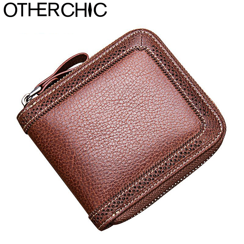 OTHERCHIC Vintage Genuine Leather Women Short Wallets Small Zipper Wallet Card Holder Coin Pocket Women Purse Money Bag 7N01-05 otherchic women short wallets small simple wallet zipper coin pocket purse woman female roomy wallet purses money bag 7n01 14