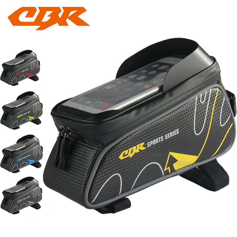 CBR Bicycle Front Tube Bags 6 Inch Phone Touch Screen MTB PU Waterproof Bike Cycling Beam Saddle Bag Mountain Bike Accessories 2017 bicycle camera bag bike front tube bag bicycle accessories black road mountain large capacity cycle bike backpack bike bag