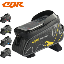 CBR Bicycle Front Tube Bags 6 Inch Phone Touch Screen MTB PU Waterproof Bike Cycling Beam Saddle Bag Mountain Bike Accessories
