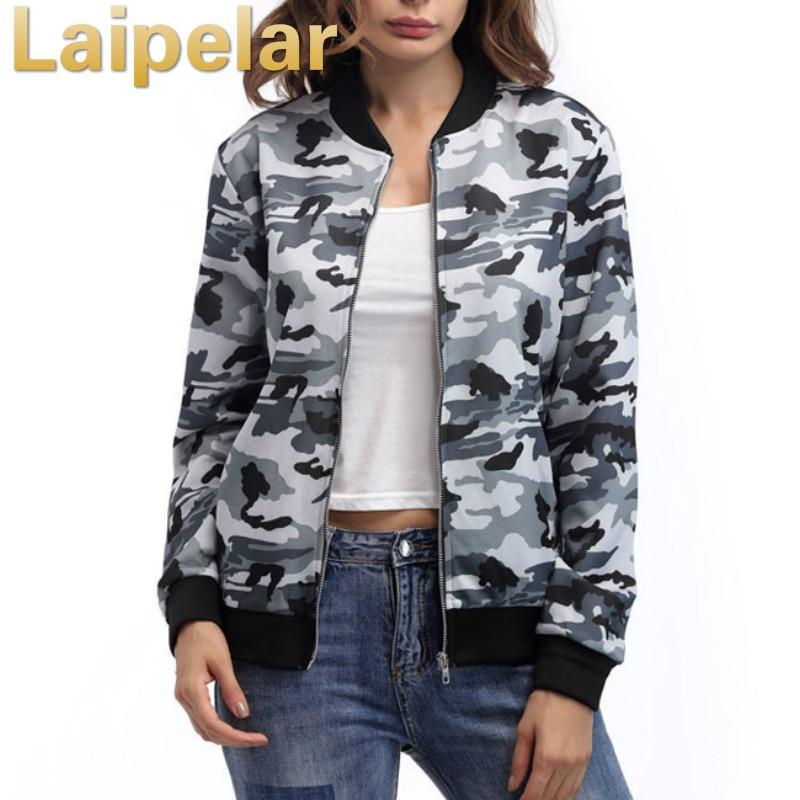 Laipelar 2018 New Spring Camouflage   Jacket   Autumn   Basic     Jacket   for Women Multicolor Collarless Elegant   Jackets   Coats Feminina