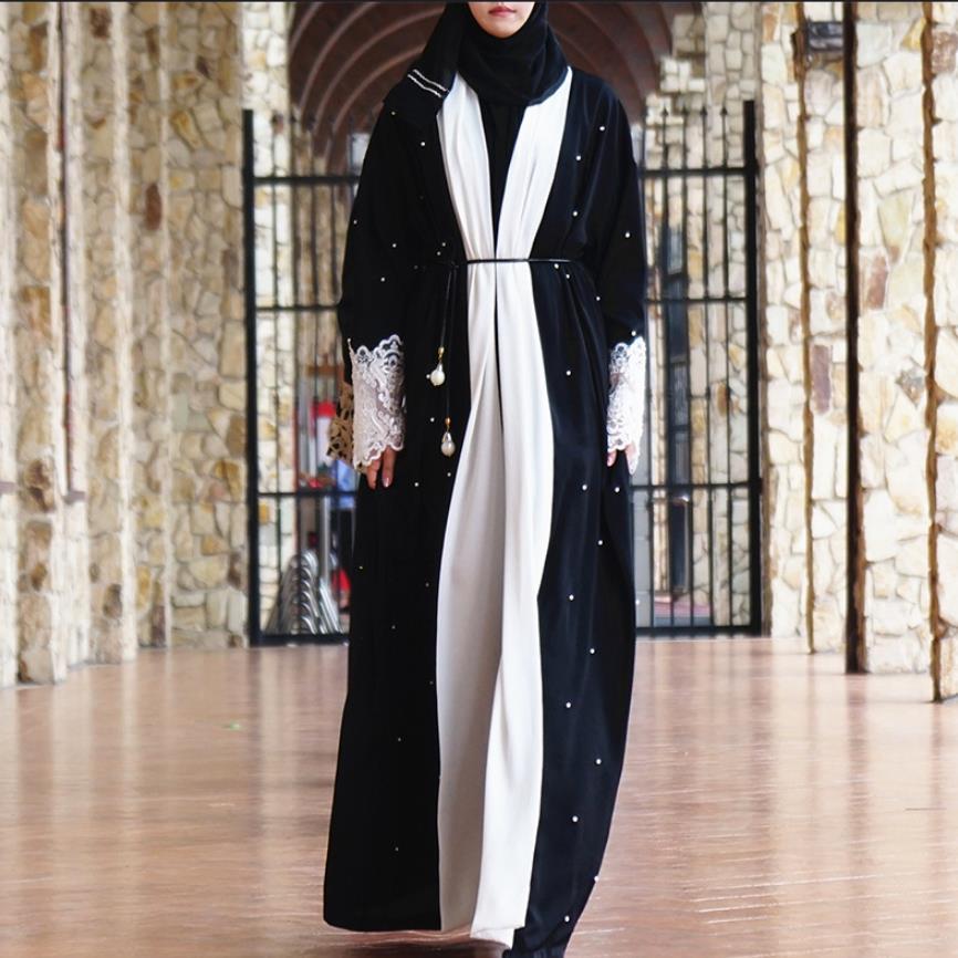Muslimah spitze stickerei Roben Musulmane Türkischen Dubai langarm perlen Abayas Muslimischen Arabischen Anbetung Service wq1206 großhandel