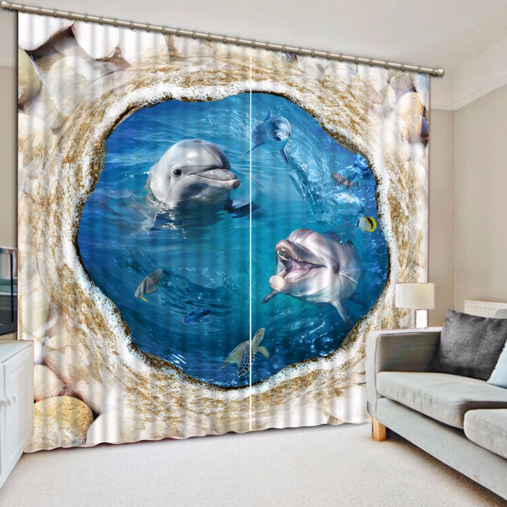 3D Curtains For Bedroom Window Curtain European Dolphin Stone Luxury Living Room Photo Curtains3D Curtains For Bedroom Window Curtain European Dolphin Stone Luxury Living Room Photo Curtains