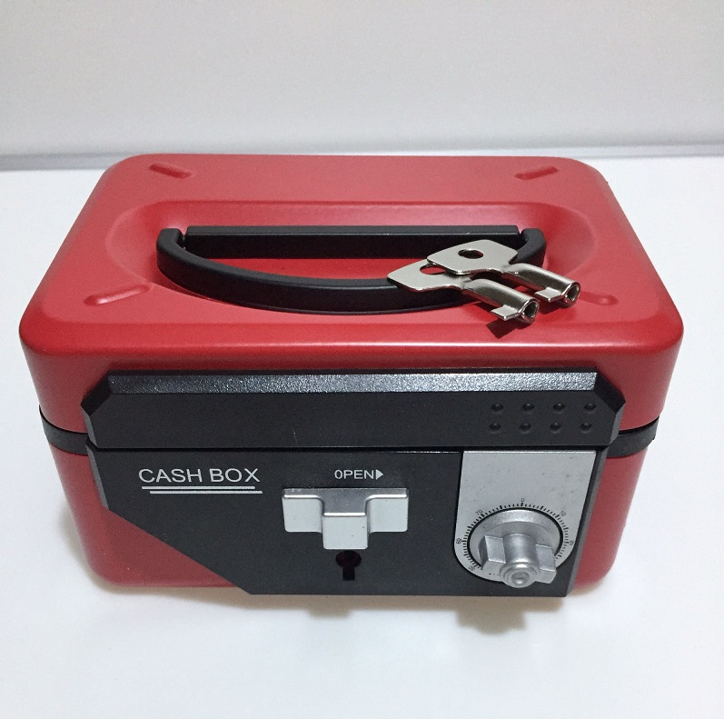 Metal Portable Small Jewelry Cash Boxes Safety Safes Key Add Password Double Locked Portable Receiving Iron Savings Box