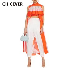 CHICEVER Summer Striped Casual Asymmetrical Long Length Blouse Women Stand Collar Sleeveless Off Sho